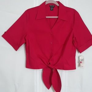 RAFAELLA red short sleeve button front top size 14